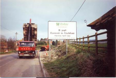 Road widening in progress at Eastcott in 1993