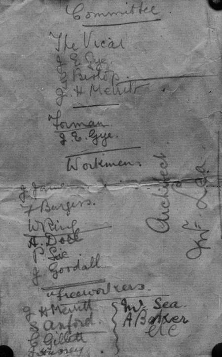 Builders of the old Parish Room in Market Lavington. The list was left in a bottle, under the floorboards.