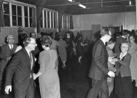 Dancing in trhe old Parish Room in Market Lavington, possibly 1960s