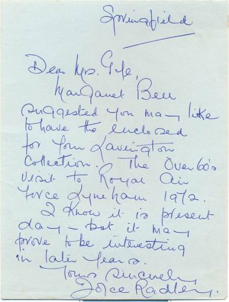 Note from Joyce Radley to Peggy Gye about an over 60s visit to Lyneham