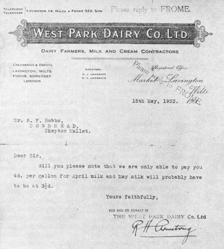 A 1933 letter about milk prices from the West Park Dairy