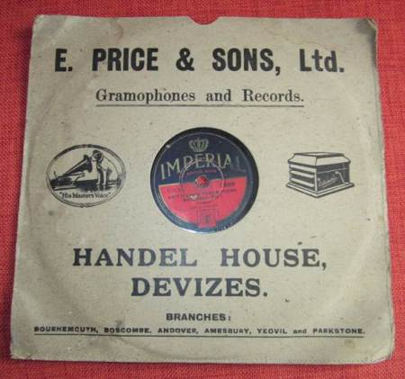 Record sleeve from a shop founded by Ezra Price from Market Lavington