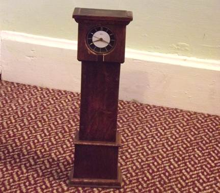 model long case clock at Market Lavington Museum