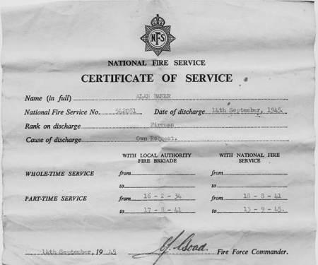 Alan Baker's fire service certificate