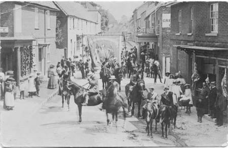 A Society walk in Market Lavington High Street in the early 20th century