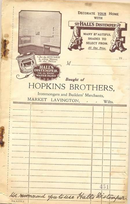 Hopkins Brothers bill pad