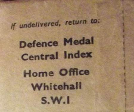 The package contained a Defence medal