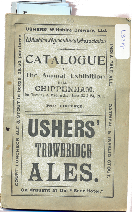 Wiltshire Agricultural Association show catalogue for 1914