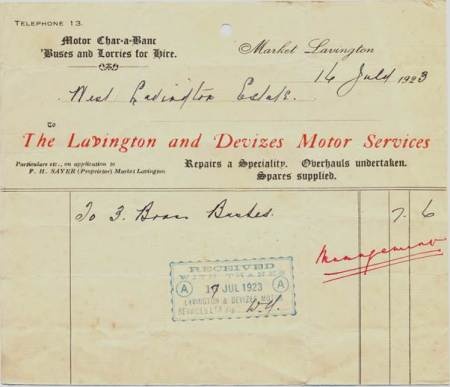 Bill from Lavington and Devizes Motor Services in 1923