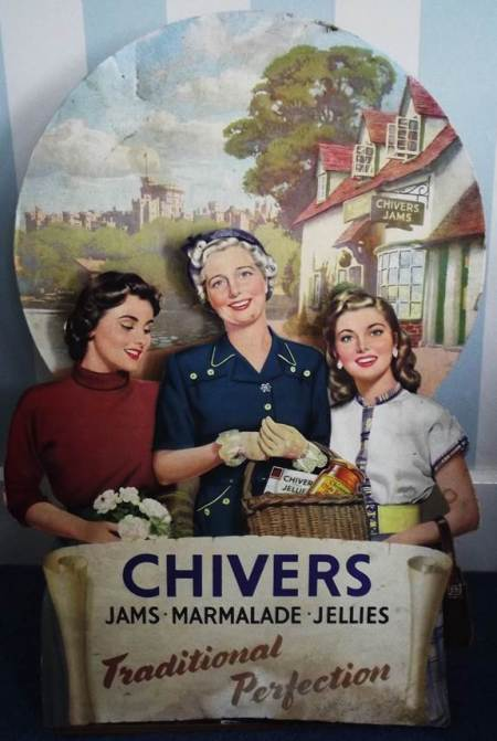 1950s advert for Chivers products found at the former shop of Harry Hobbs in High Street, Market Lavington