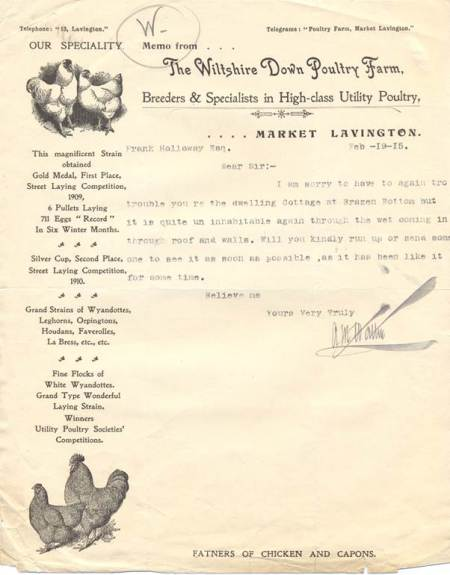 Letter from Wiltshire Down Poultry Farm signed by Arthur Walton