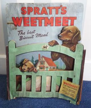 Advert for Spratt's Weetmeet from Harry Hobbs's Market Lavington shop