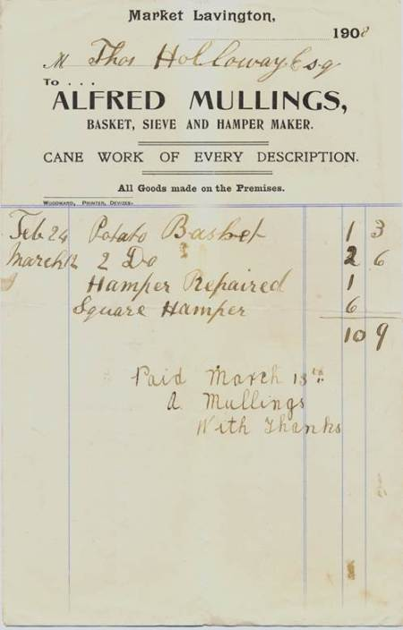 Receipted bill from Mr Mullings, basket maker of Market Lavington dated 1908