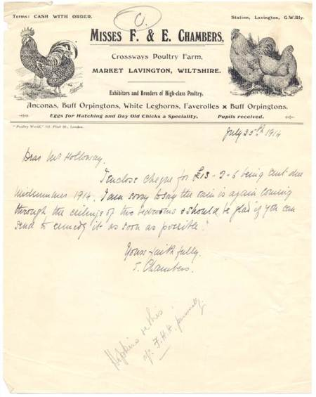 Letter from the Misses Chambers of Crossways Poultry Farm