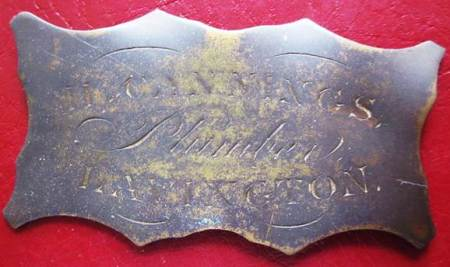 H Cannings, plumber - a trade plate