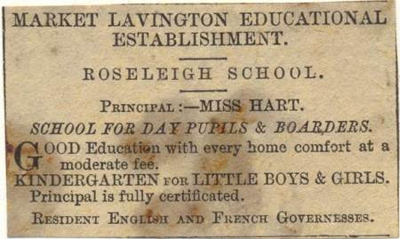 1906 newspaper advert for Roseleigh School in Market Lavington