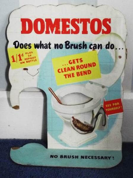 1950s advert for Domestos from Harry Hobbs. shop