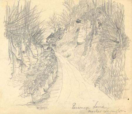 Sketch suggesting Parsonage Lane in market Lavington