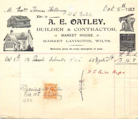 A bill from Arthur Oatley of Market House, Market Lavington in 1923