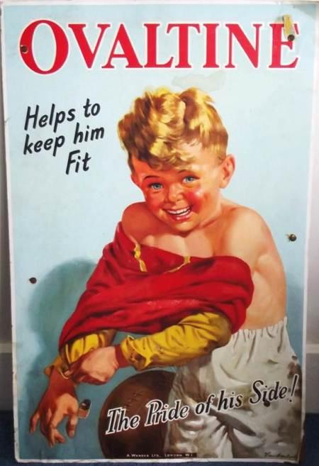 Large card Ovaltine ad from Harry Hobbs' shop on High Street, Market Lavington. 1950s