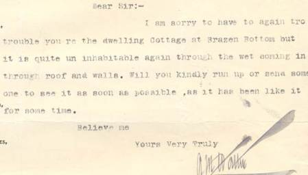 The letter is about the cottage at Brazen Bottom