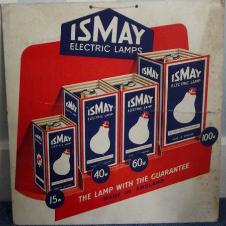 Hanging card ad for Ismay electric lamps - also from Harry Hobbs' shop.