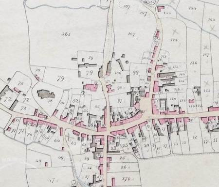 The centre of Market Lavington on the 1840 tithe map