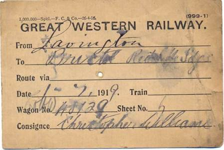 Great Western Railway goods label issued at Lavington station