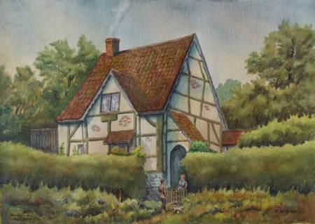 The Tudor Cottage on Northbrook - a watercolour by Roy McGrath
