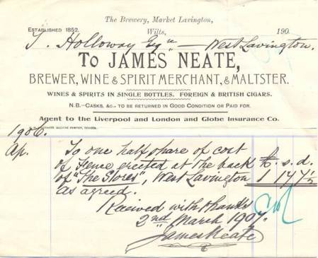 Receipted bill paid to James Neate of Market Lavington by Holloways of West Lavington