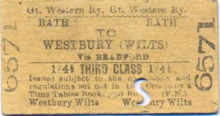 Edmonson style ticket issued by the GWR and now at Market Lavington Museum