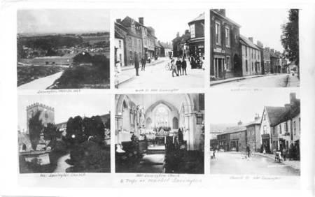 Six views of Market Lavington. A 1914 postcard by Alf Burgess.