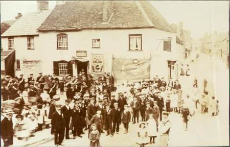 Friendly Society march in Market Lavington - early 20th century
