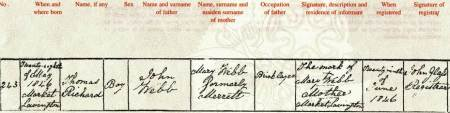 Thomas Webb's birth certificate