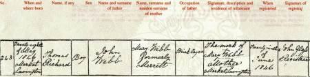 Thomas Webb's birth certificate