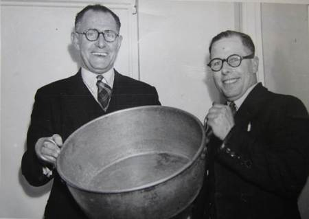 Sons of Samuel! Wilfred and William Moore with a jam factory pan