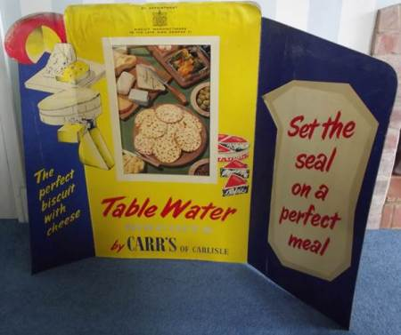 Advert for Carr's Table Water Biscuits from Harry Hobbs's shop - about 1953