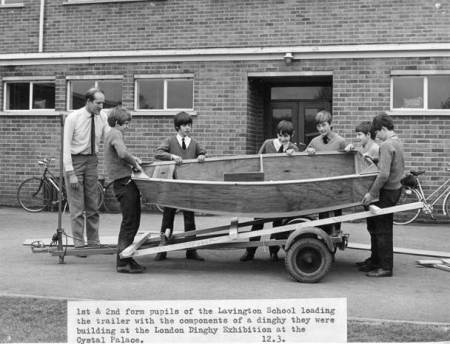 A dinghy built by pupils at Lavington School in about1972