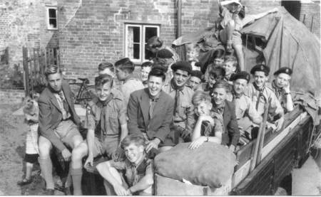 Scouts prepare to go camping in about 1956