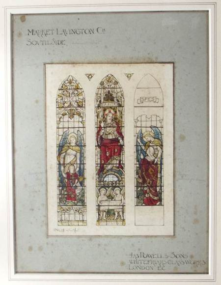 Plan for a stained glass window on the south side of St Mary's Church, Market Lavington