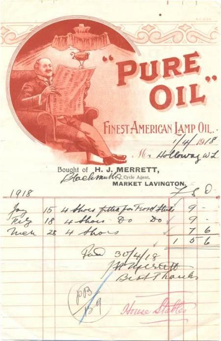 1918 bill issued by H J Merritt of Market Lavington