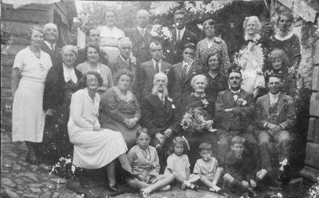 Alfie and Sarah Alexander with friends and relations - possibly 14th August 1936