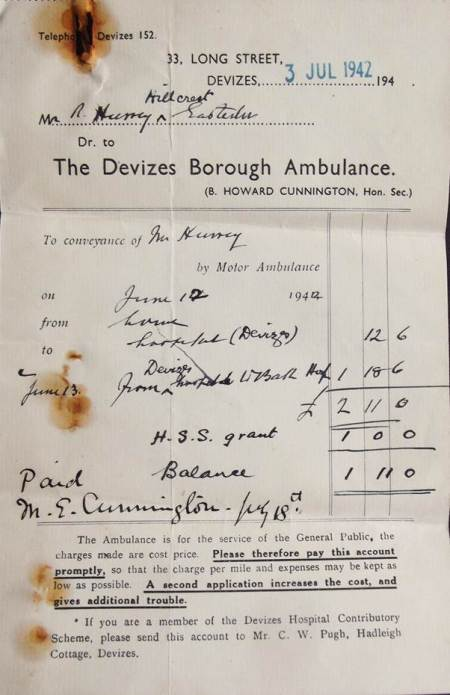 An ambulance bill from 1942
