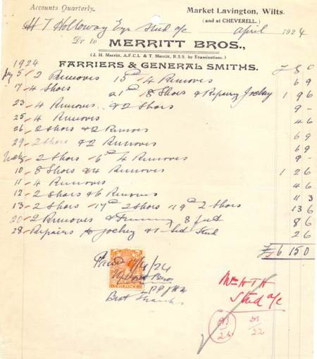 Merritt Brothers receipt from 1924