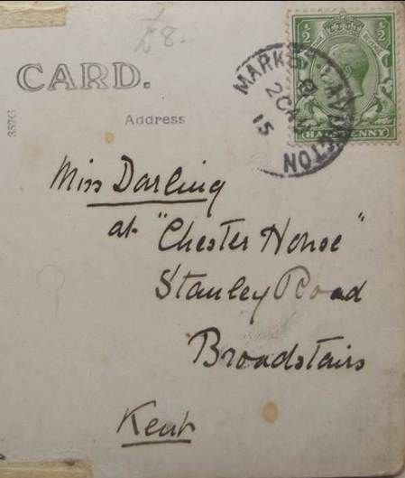 The card has a Market Lavington post mark