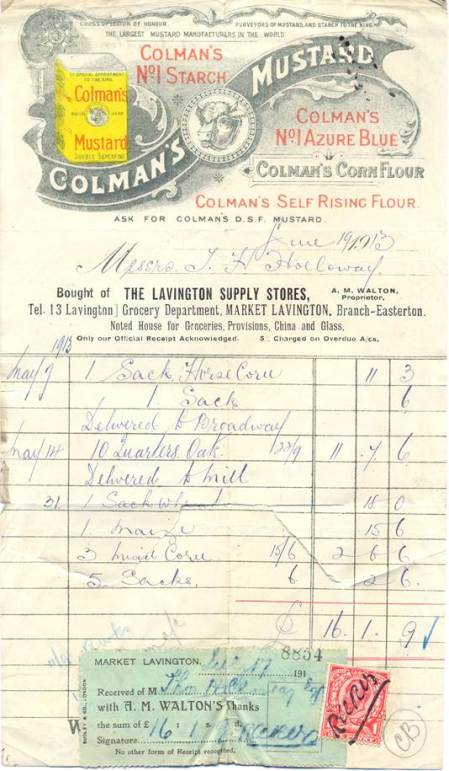 Receipt for items received by Thomas Holloway from Lavington Supply Stores in 1913
