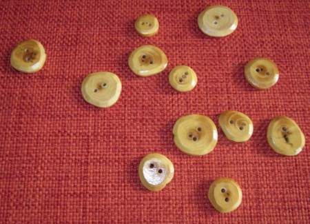 Buttons made of yew by Peter in Market Lavington
