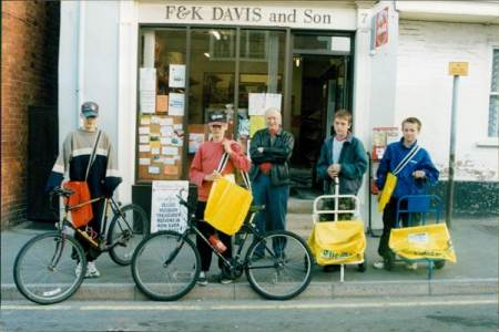 Keith Davis and the delivery lads outside the Market Lavington newsagents in the year 2000