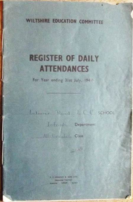 Latimer Road School register at Market Lavington Museum