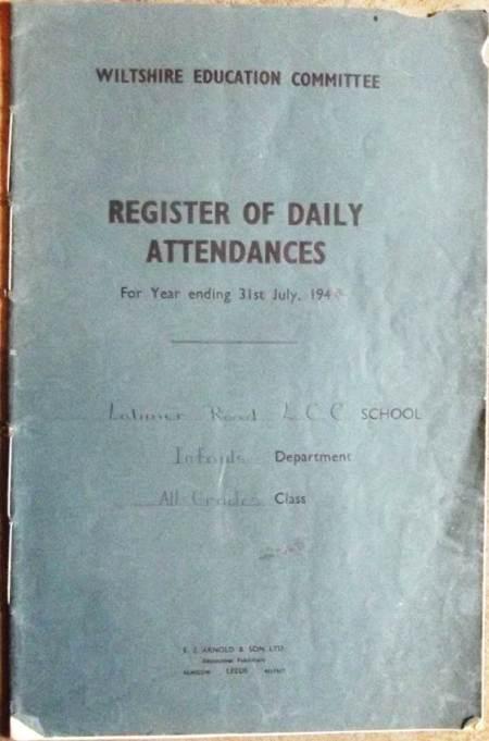 Latimer Road School register at Market Lavington Museum